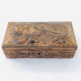 Vintage copper felt-lined hinged trinket box with Asian dragon design