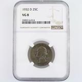 Certified 1932-D U.S. Washington quarter