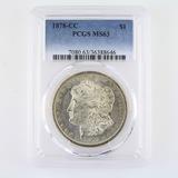 Certified 1878-CC U.S. Morgan silver dollar