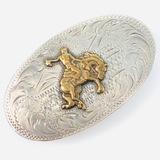 Estate sterling silver & bronze Western belt buckle
