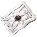 Estate Native American unmarked sterling silver fire agate belt buckle