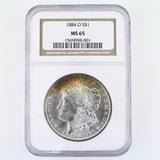 Certified 1884-O U.S. Morgan silver dollar