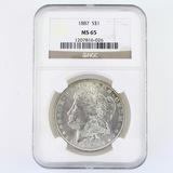 Certified 1887 U.S. Morgan silver dollar