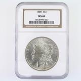 Certified 1889 U.S. Morgan silver dollar