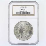 Certified 1899-O U.S. Morgan silver dollar