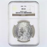 Certified 1881 U.S. Morgan silver dollar
