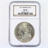 Certified 1921 U.S. Morgan silver dollar