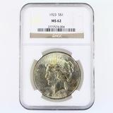 Certified 1923 U.S. peace silver dollar