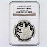Certified 2010-P proof U.S. Boy Scouts commemorative silver dollar