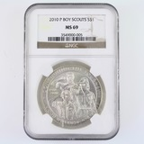 Certified 2010-P U.S. Boy Scouts commemorative silver dollar