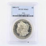 Certified 1881-CC GSA U.S. Morgan silver dollar
