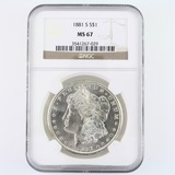 Certified 1881-S U.S. Morgan silver dollar