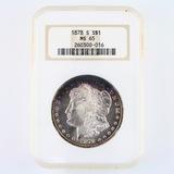 Certified 1878-S U.S. Morgan silver dollar