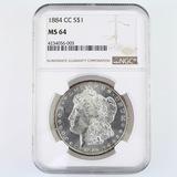 Certified 1884-CC U.S. Morgan silver dollar