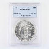 Certified 1885 U.S. Morgan silver dollar