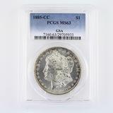 Certified 1885-CC GSA U.S. Morgan silver dollar