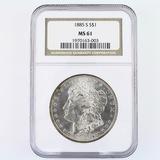 Certified 1885-S U.S. Morgan silver dollar