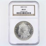 Certified 1885-O U.S. Morgan silver dollar