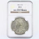 Certified 1886-O U.S. Morgan silver dollar