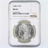 Certified 1886-S U.S. Morgan silver dollar