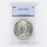 Certified 1888 U.S. Morgan silver dollar