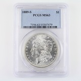 Certified 1889-S U.S. Morgan silver dollar