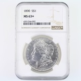 Certified 1890 U.S. Morgan silver dollar