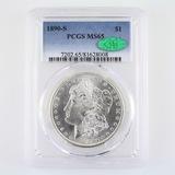 Certified 1890-S U.S. Morgan silver dollar
