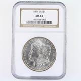 Certified 1891-O U.S. Morgan silver dollar