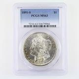 Certified 1891-S U.S. Morgan silver dollar