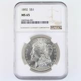 Certified 1892 U.S. Morgan silver dollar