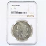 Certified 1893-O U.S. Morgan silver dollar