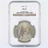 Certified 1897 U.S. Morgan silver dollar