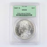 Certified 1897-S U.S. Morgan silver dollar