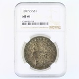 Certified 1897-O U.S. Morgan silver dollar