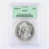 Certified 1900-S U.S. Morgan silver dollar