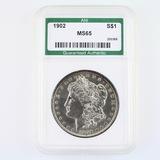 Certified 1902 U.S. Morgan silver dollar