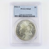 Certified 1921-S U.S. Morgan silver dollar