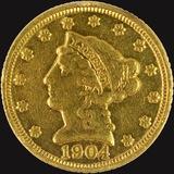 1904 U.S. $2 1/2 Liberty head gold coin