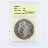 Certified 1891 VAM 9 U.S. Morgan silver dollar