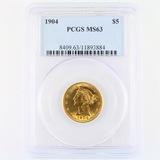Certified 1904 U.S. $5 Liberty head gold coin
