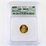 Certified 2000 U.S. $5 1/10oz American Eagle gold coin