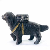 Vintage dog with package still bank