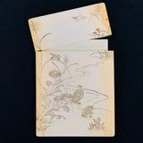 Vintage genuine hand-carved ivory card holder with landscape design