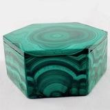 Estate genuine malachite hexagonal trinket box