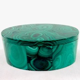 Estate genuine malachite oval trinket box