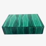 Estate genuine malachite-veneer hinged box with felt interior