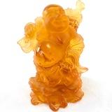 Genuine signed Daum amber glass Buddha figurine