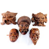 Collection of 5 hand-carved Asian & African hardwood & softwood heads & masks