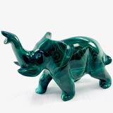 Estate genuine malachite elephant figurine